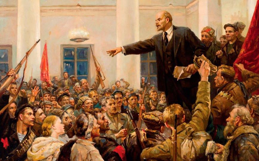 'Lenin proclama el poder soviético en el Instituto Smolny' de Petrogrado (Vladimir Serov, 1952, detalle)