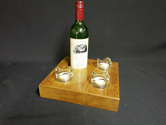 WIne Holder & 3 Tealight Table Centrepiece - Iroko