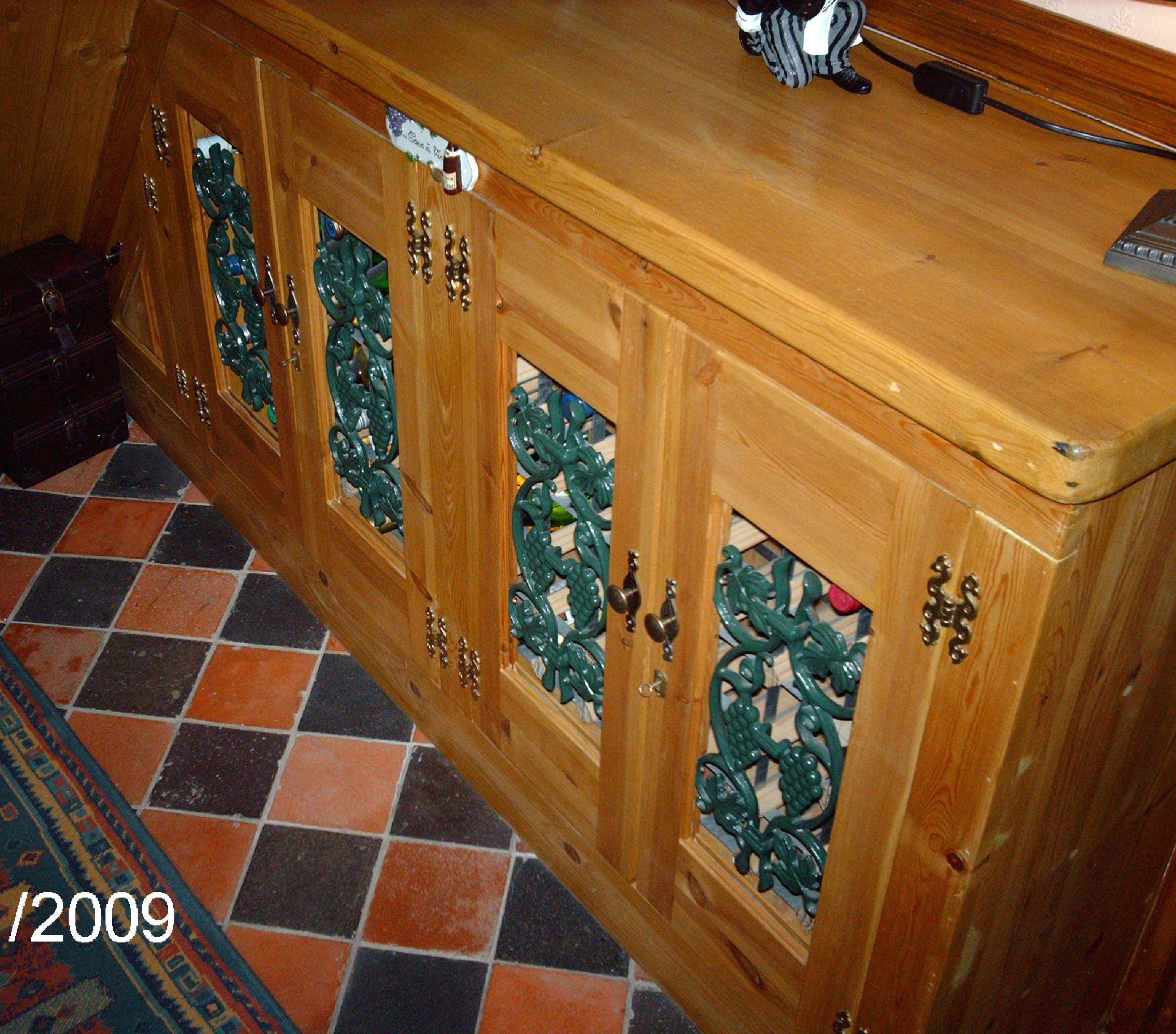 WINE CUPBOARD WITH CAST IRON INSETS - PINE.JPG