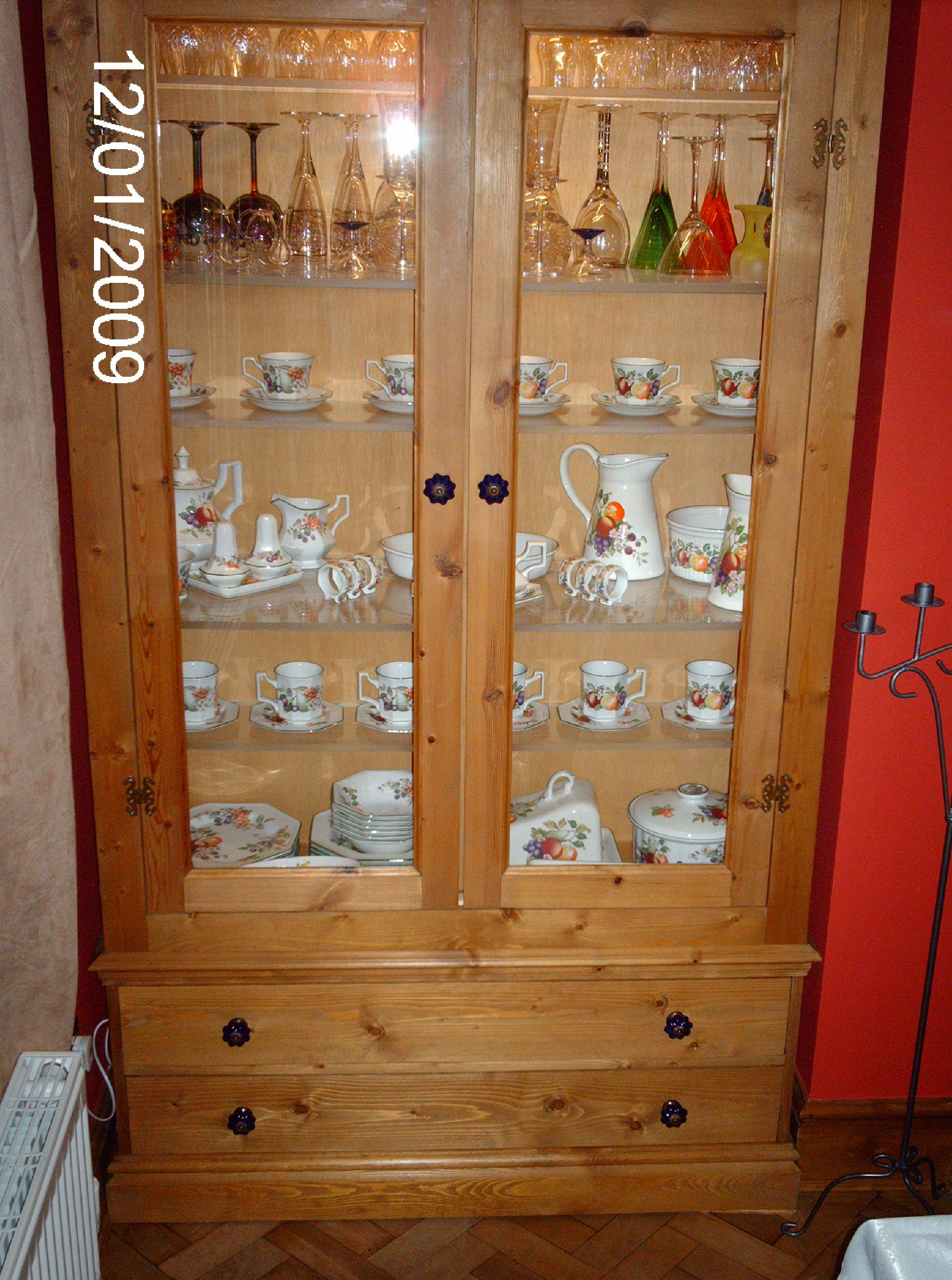 DISPLAY CABINET WITH 2 DRAWERS - PINE.JPG