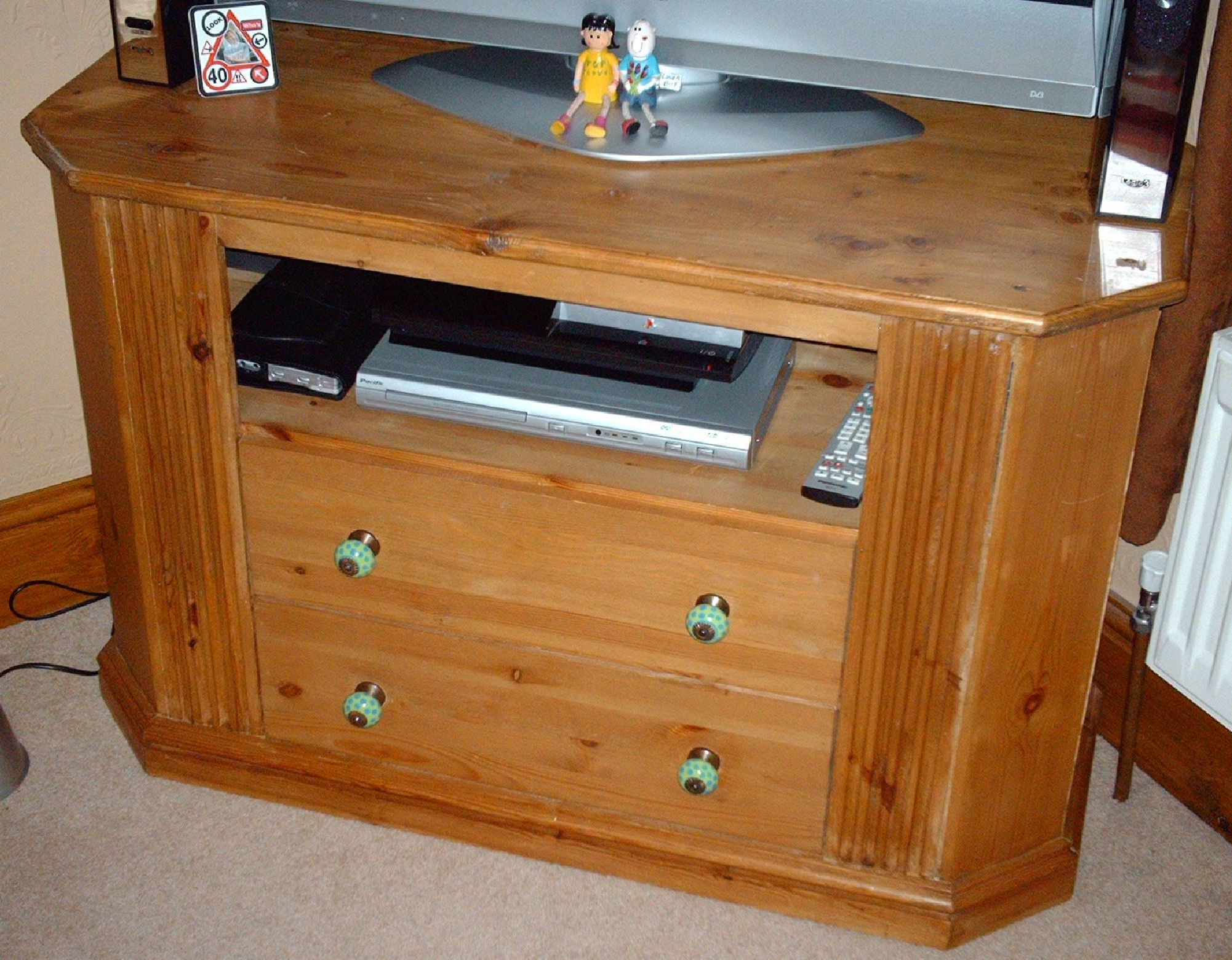 TV STAND WITH 2 DVD DRAWERS - PINE.JPG
