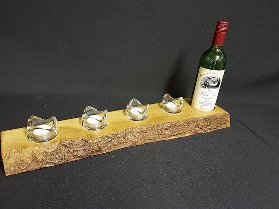 WIne Holder & 4 Tealight Table Centrepiece - Oak