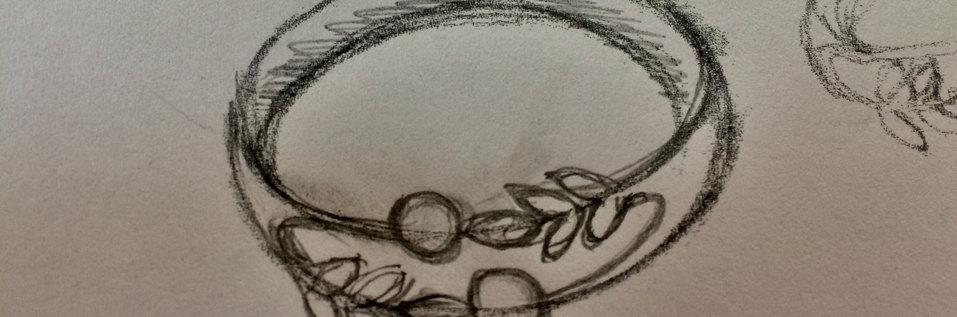 Schets voor een olijftak ring