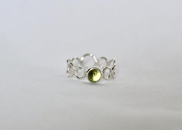 Sterling zilveren Peridot bubble ring