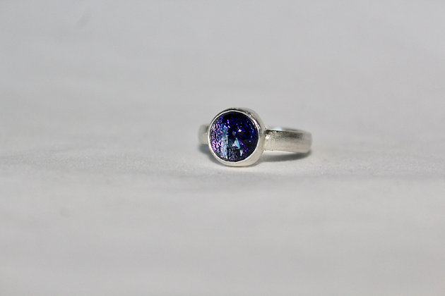 Sterling silver dichroic glass ring