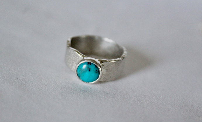 Organic cast turquoise  925 sterling silver ring