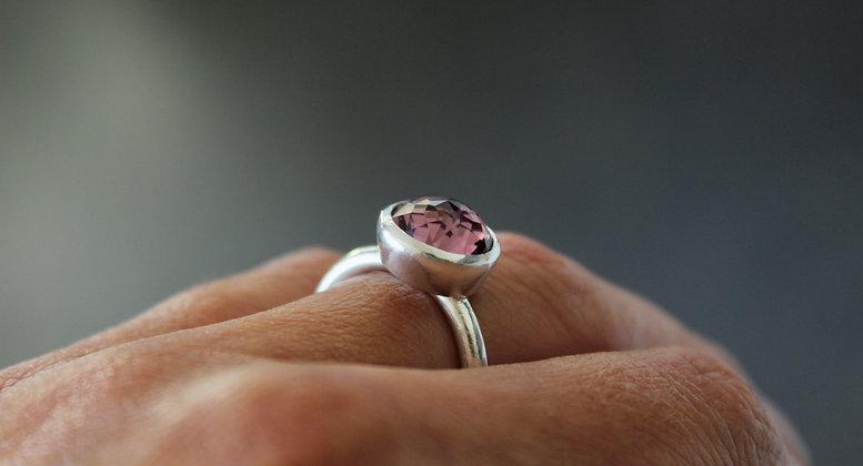 Pink Swarovski® chaton ring
