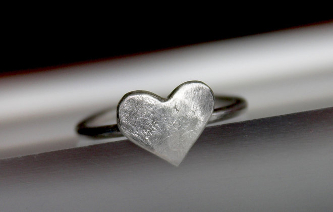 Chunky 925 sterling silver heart ring