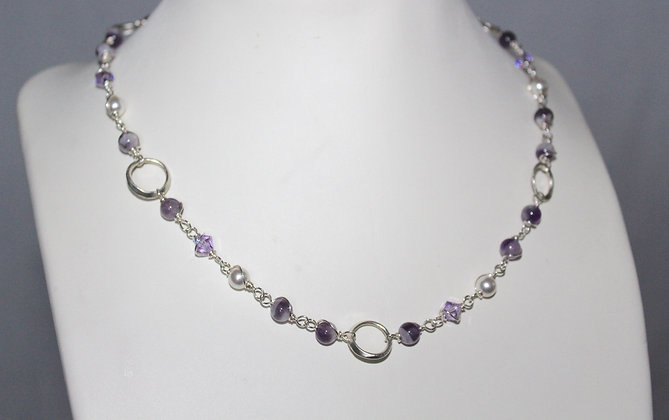 Silver beaded amethyst necklace