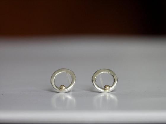 Silver loop studs, gold bead