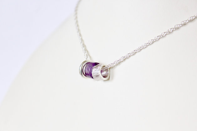 Gemstone tube & 925 sterling silver pendant set