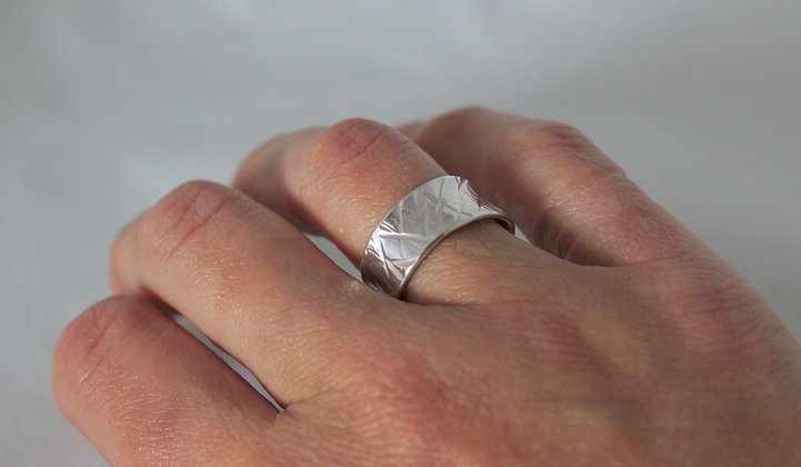 Wide textured 925 sterling silver ring