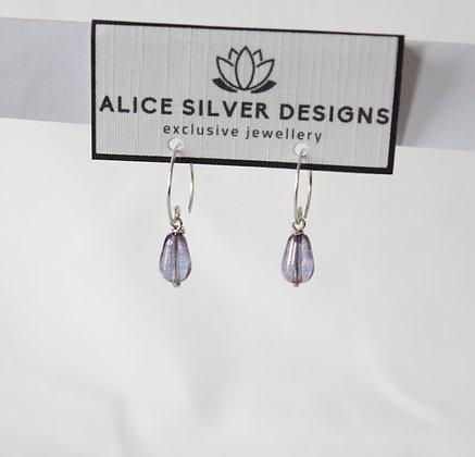 925 Sterling silver half-ring drops: Purple glass