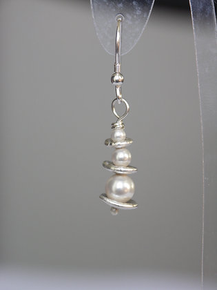 Silver nugget and Swarovski® pearl drops