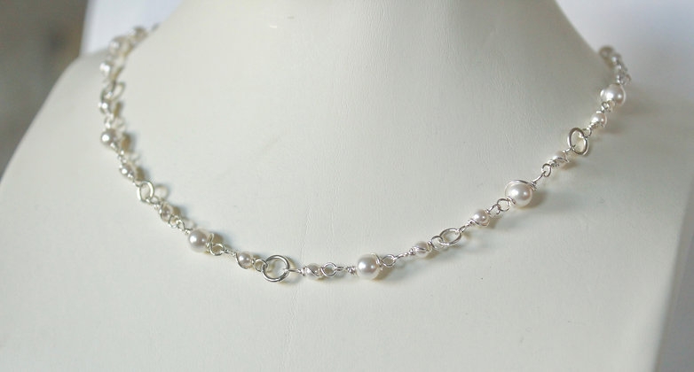 Sterling silver Swarovski® Crystal pearl necklace