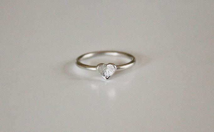 Sterling zilveren ring met hart