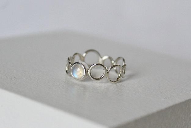 Sterling zilveren regenboog maansteen bubble ring