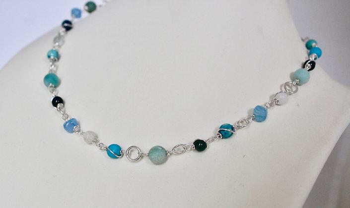 Turquoise mixed gemstone necklace