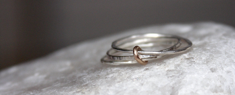 Triple slim bands with 9ct gold keeper