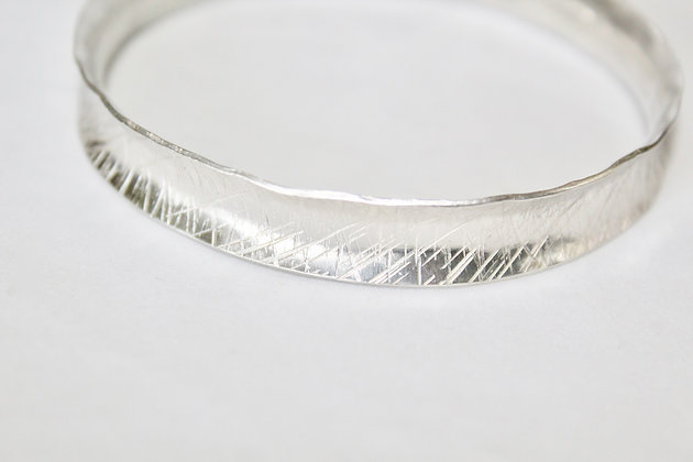 925 Sterling silver anti-clastic textured bangle