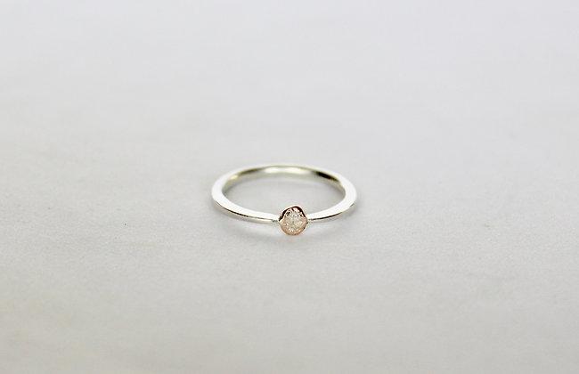 sterling zilveren ring met gouden nugget