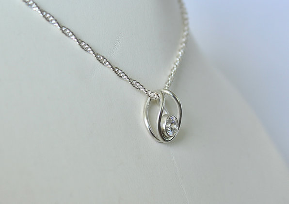 Sterling Silver pendant with faceted Swarovski® crystal