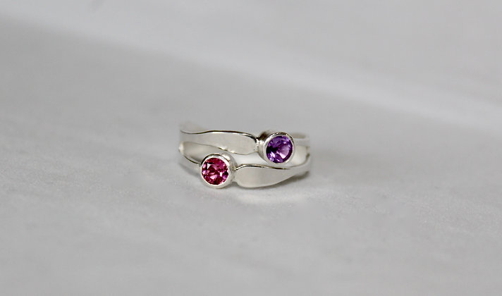 Twin banded 925 sterling silver gemstone ring
