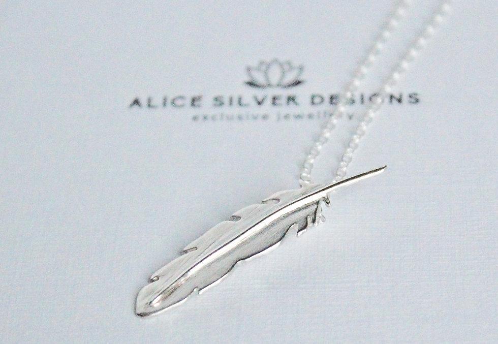 Alice Silver Designs silver feather pend
