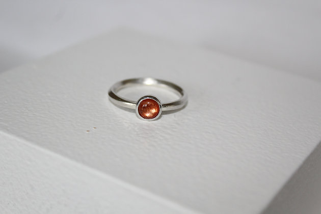 Square banded 925 sterling silver sunstone ring