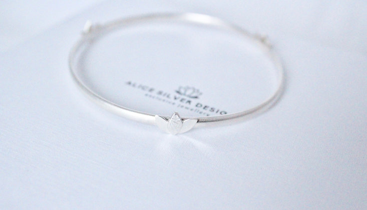 Sterling silver Lotus flower bangle