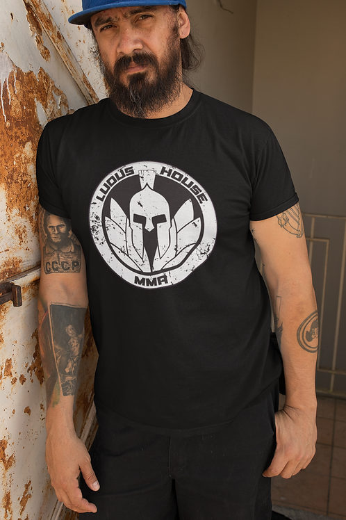 T-Shirt - Ludus House MMA - BW Logo - Black Shirt