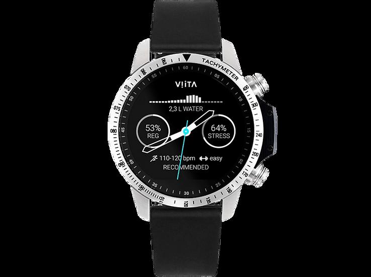 Viita Watch Active HRV Tachymeter silber/schwarz Silikon