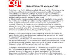 Déclaration de la CGT sur les conditions de travail inacceptables