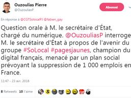 23 avril : question orale posée par Pierre Ouzoulias au secrétaire d'Etat chargé du numérique