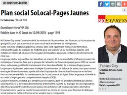 Plan social Solocal-Pages Jaunes : question écrite posée au gouvernement par le sénateur de Seine-St
