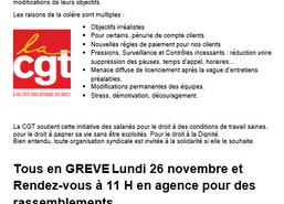 Grève le lundi 26 novembre 2018