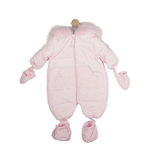Mintini Plain Pink Fur Hood Snowsuit