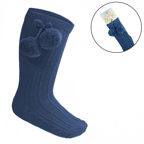 Navy Long Pom Sock