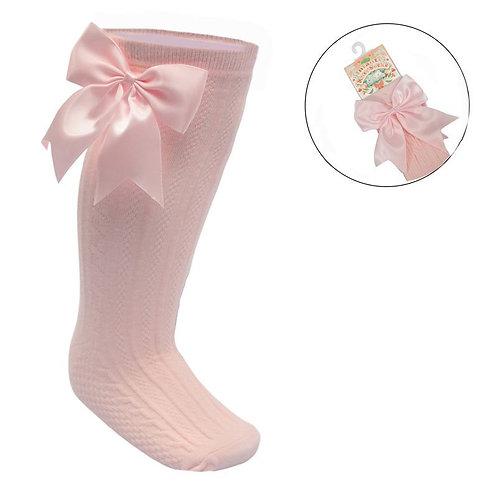 Pink Long Bow Sock