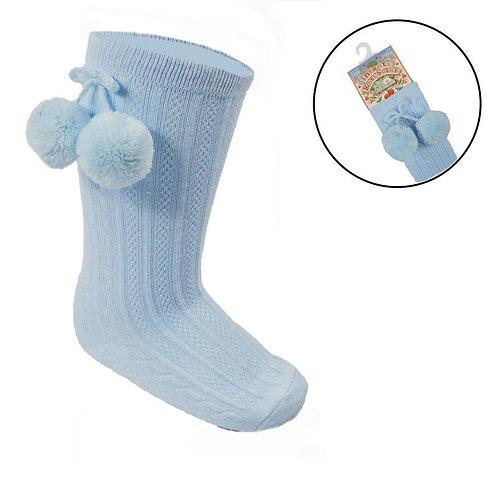 Blue Long Pom Sock