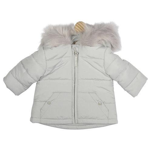 Grey Fur Hood Jacket