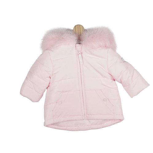 Mintini Plain Pink Fur Hood Jacket