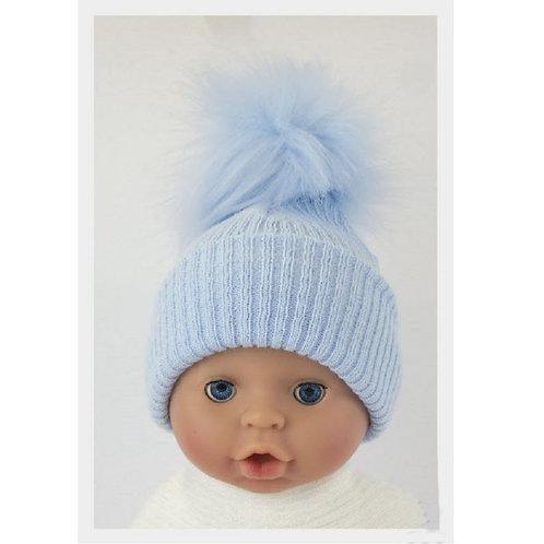 Plain Blue Pom Hat