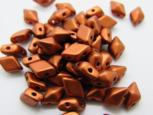 Matte Copper DiamonDuo 2-Hole Bead -Pack 50