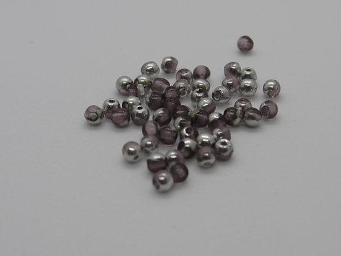 3 mm Druk -Amethyst Silver - 50 Pc Pack