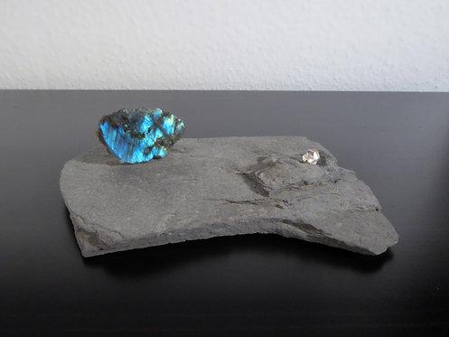 Labradorit und Bergkristall