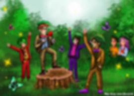 Напялив шляпы, сделанные из сорванных листьев лопуха, ребята стали почти неотличимы от бугагашек.