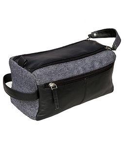 leather and tweed wash bag