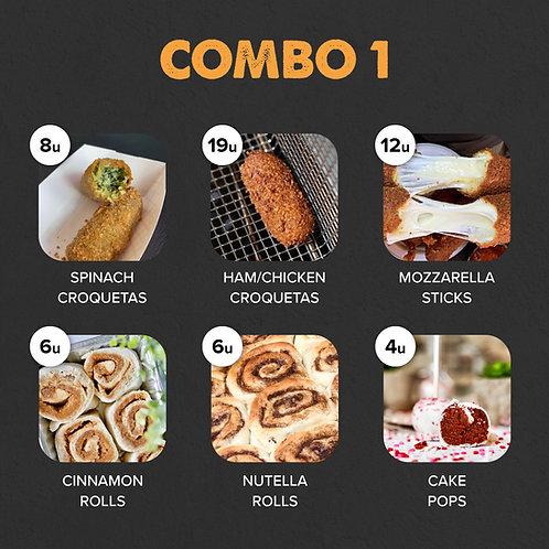 COMBO 1: 27 Croquetas, 12 Mozz Sticks, 12 Rolls, 4 Cake Pops