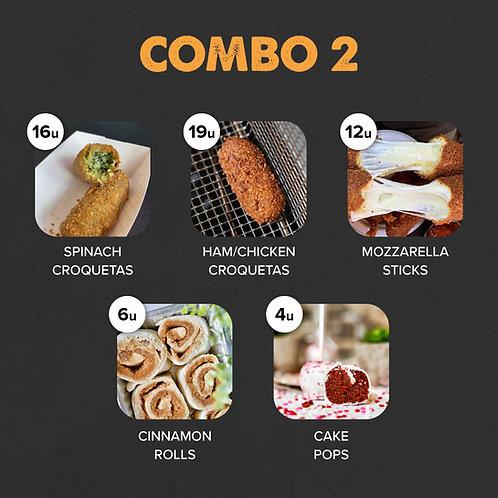 COMBO 2: 35 Croquetas, 12 Mozz Sticks, 6 Cinnamon Rolls, 4 Cake Pops
